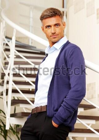 Portret przystojny dojrzały mężczyzna działalności biuro szczęśliwy Zdjęcia stock © deandrobot