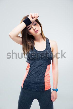 Fitnessz nő izzadság hegyorom izolált fehér nő Stock fotó © deandrobot