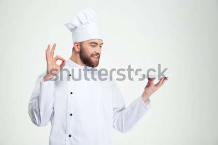 Stock fotó: Férfi · szakács · mutat · ok · felirat · üres