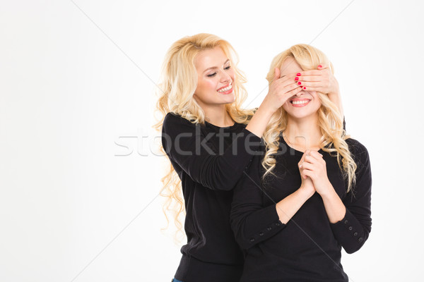 Pretty joyful blonde sister twin covered eyes to another isolated  Stock photo © deandrobot