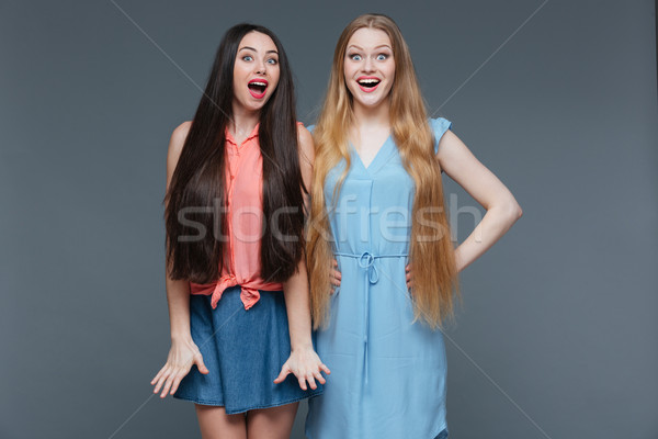 Two happy surprised young women with long hair  Stock photo © deandrobot