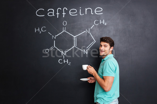 Heureux scientifique potable café structure chimique caféine Photo stock © deandrobot