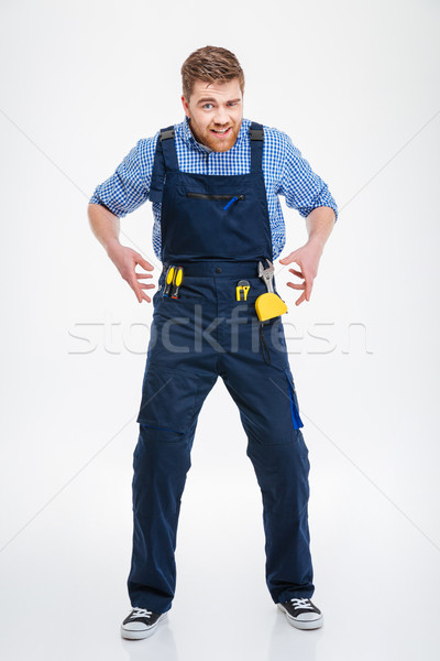Full length portrait of a funny male builder Stock photo © deandrobot