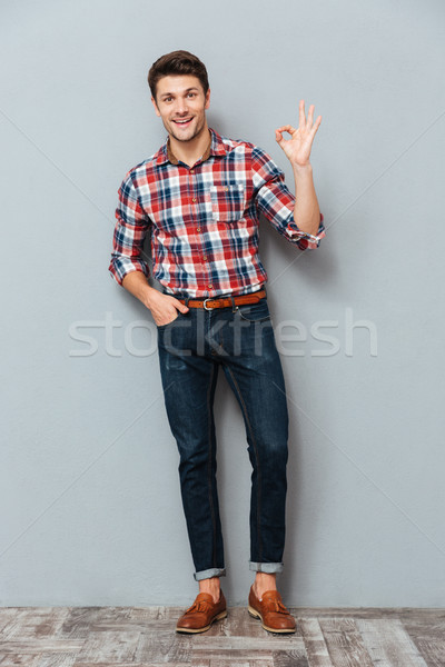Portret szczęśliwy człowiek w porządku Zdjęcia stock © deandrobot
