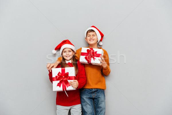 Stok fotoğraf: Iki · komik · çocuklar · noel · baba · hediye · kutuları