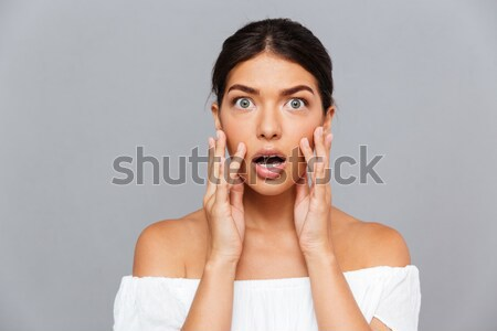 Surpreendido modelo estúdio isolado branco mulher Foto stock © deandrobot