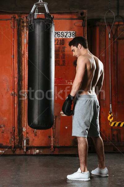 Yakışıklı genç güçlü boksör eğitim spor salonu Stok fotoğraf © deandrobot