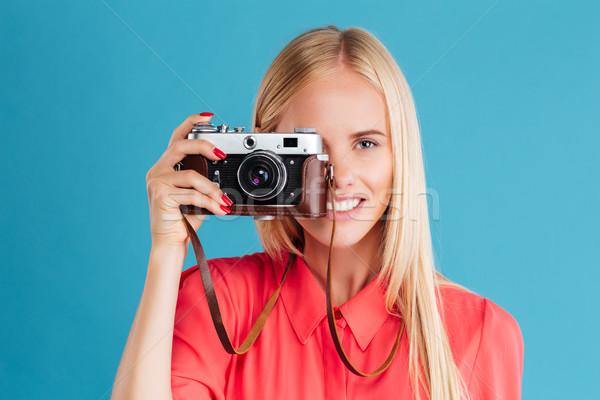 Portret uśmiechnięty młodych dziewczyna Zdjęcia stock © deandrobot