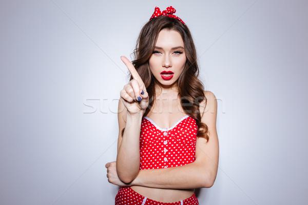 少女 下着 指 スタジオ 見える カメラ ストックフォト © deandrobot