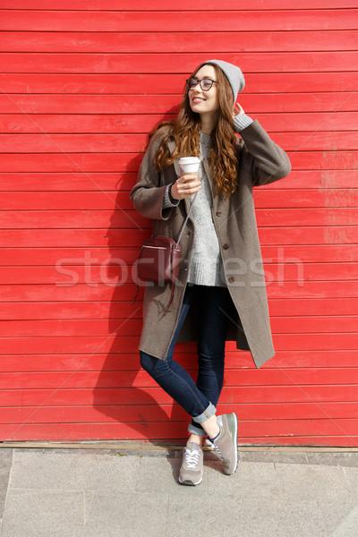 Sonriendo pie potable Foto stock © deandrobot