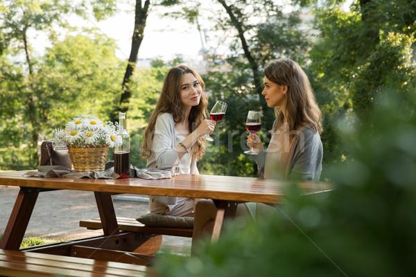 Foto stock: Bastante · jóvenes · dos · mujeres · sesión · aire · libre · parque