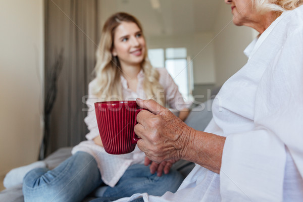 Cheerful young lady sitting at home with her grandmother Stock photo © deandrobot