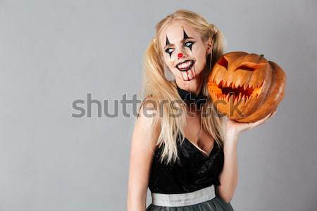 Dangereux fou femme blonde halloween clown maquillage Photo stock © deandrobot