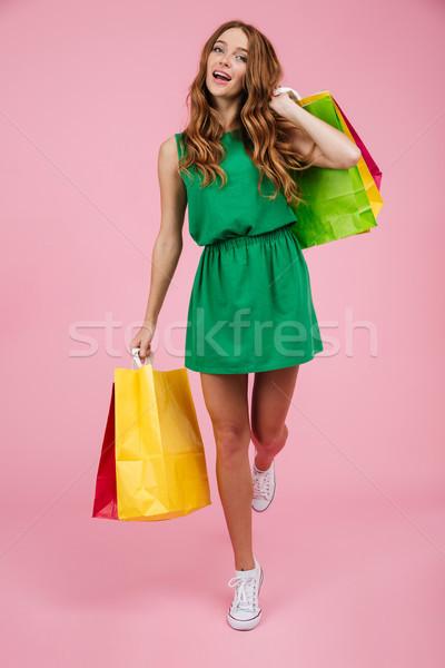 Porträt jungen lockig Frau Stock foto © deandrobot