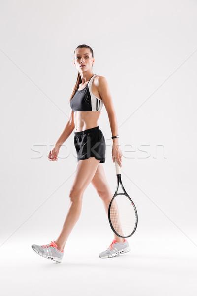 Portret gericht jonge vrouw sportkleding Stockfoto © deandrobot