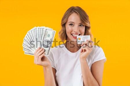Portret gelukkig meisje Open jar Stockfoto © deandrobot