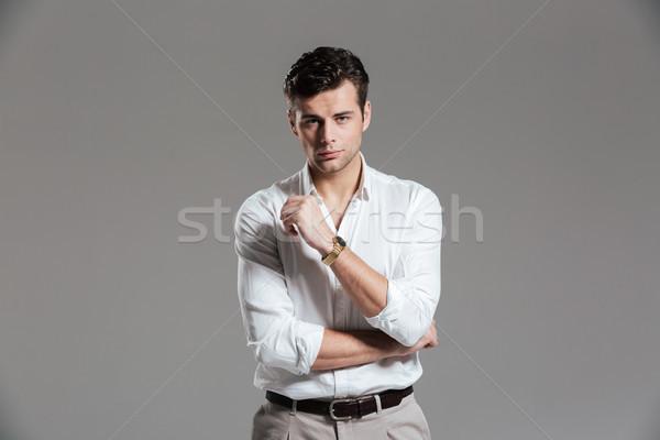 Retrato sério concentrado homem branco camisas Foto stock © deandrobot