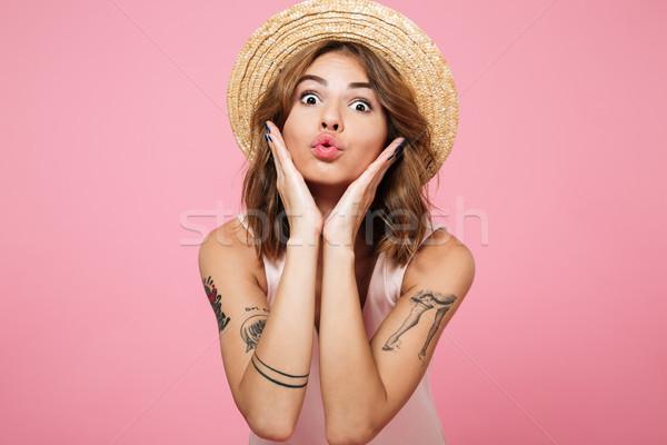 Stok fotoğraf: Portre · kız · yaz · şapka · güzel