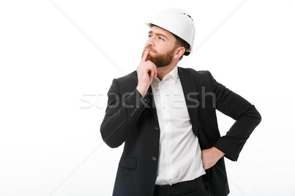 Barbado hombre de negocios casco blanco Foto stock © deandrobot