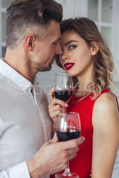 Portret sensueel romantische smart paar drinken Stockfoto © deandrobot