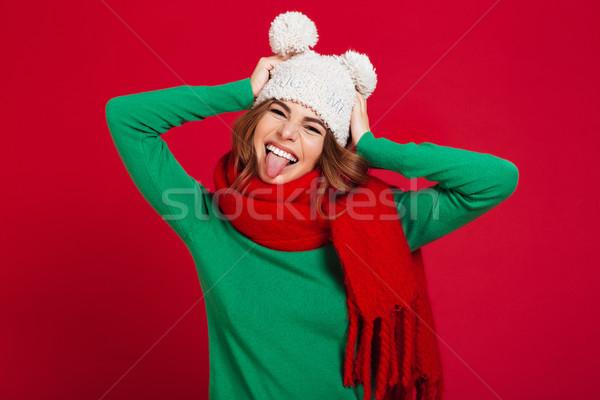 Heureux jeunes jolie femme chapeau chaud Photo stock © deandrobot