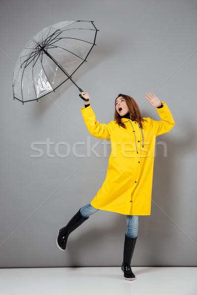 Teljes alakos portré izgatott lány esőkabát gumicsizma Stock fotó © deandrobot