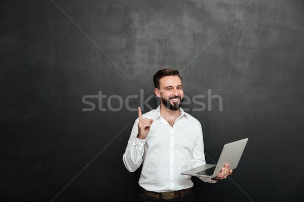 Foto inteligentes morena hombre de trabajo oficina Foto stock © deandrobot