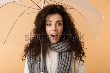 Foto sensueel glimlachend brunette vrouw poseren Stockfoto © deandrobot
