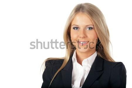 Portré mosolyog üzletasszony csukott szemmel izolált fehér Stock fotó © deandrobot