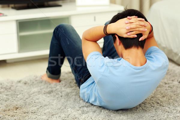 Jungen asian Mann Bauchmuskeln Stock Stock foto © deandrobot