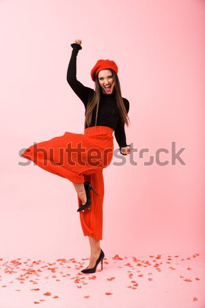 Young woman dancing on the beach. Motion blur Stock photo © deandrobot