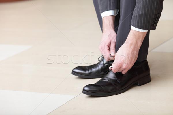 Hombre nuevos negro cuero negocios zapatos Foto stock © deandrobot