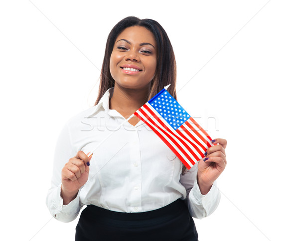 Happy african busiensswoman holding US flag Stock photo © deandrobot