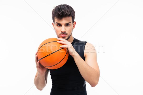 Portré kosárlabdázó néz kamera izolált fehér Stock fotó © deandrobot