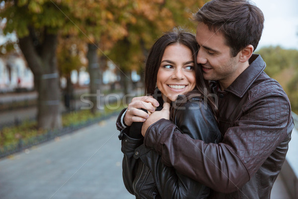 Couple flirting outoors Stock photo © deandrobot