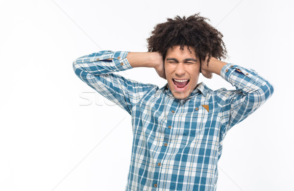 アフロ アメリカン 男 耳 悲鳴 肖像 ストックフォト © deandrobot
