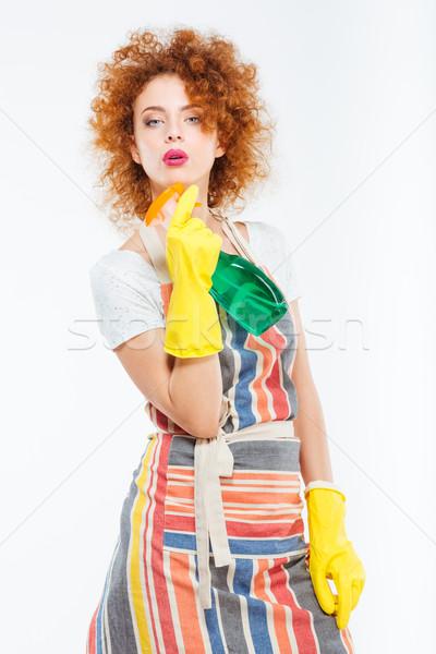 女性 黄色 手袋 ポーズ スプレー ストックフォト © deandrobot