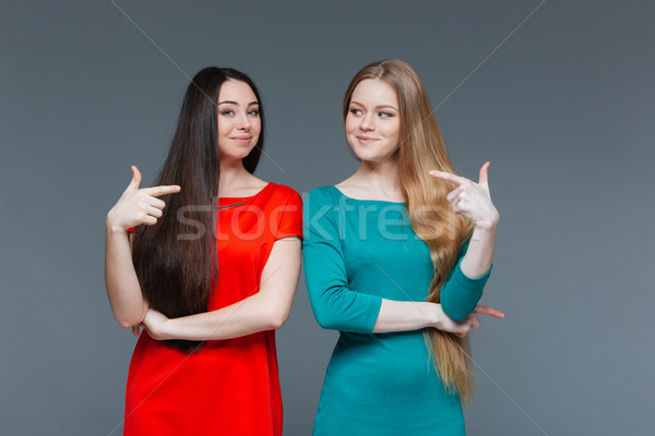 Two happy girlfriends pointing fingers at each other Stock photo © deandrobot