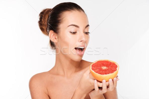 Belleza retrato feliz mujer pomelo Foto stock © deandrobot