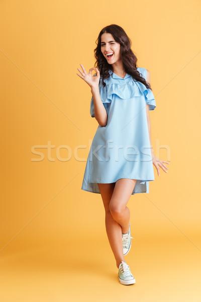 Gülümseyen kadın mavi elbise ayakta neden Stok fotoğraf © deandrobot