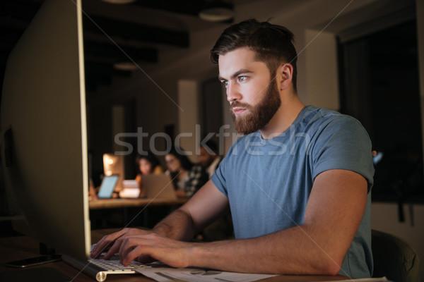 白人 あごひげを生やした ビジネスマン 作業 遅い 1泊 ストックフォト © deandrobot