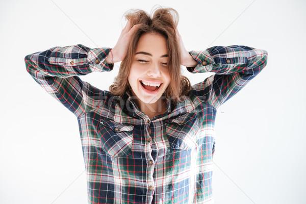 Kaygısız kadın gömlek eller Stok fotoğraf © deandrobot