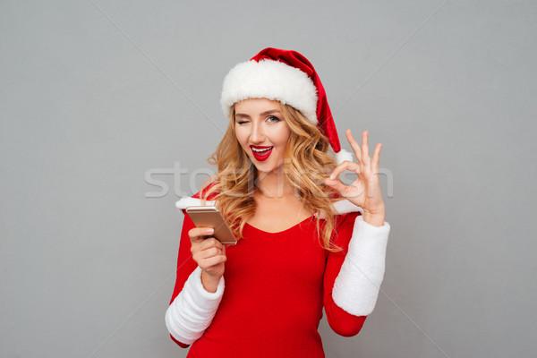 Stockfoto: Vrouw · kostuum · mobiele · telefoon · tonen