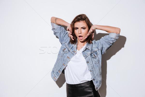 Stock fotó: Gyönyörű · nő · áll · izolált · fehér · kép · fiatal