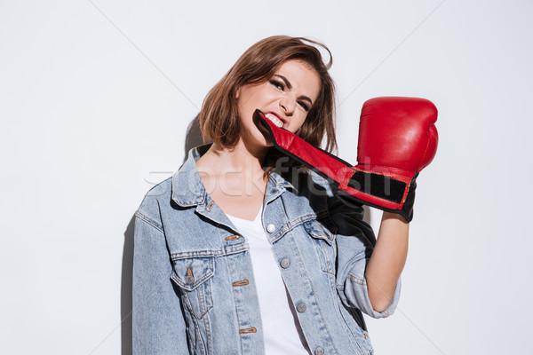 Femme boxeur isolé blanche image Photo stock © deandrobot