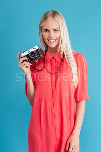 Stok fotoğraf: Portre · gülen · sarışın · kadın · Retro · kamera