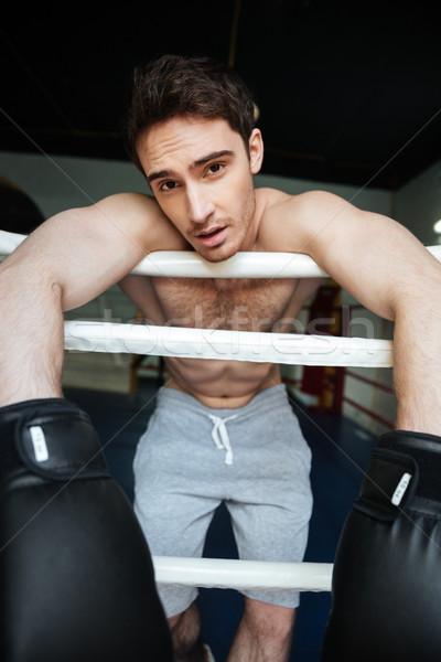 Retrato boxeador anillo guantes hombre Foto stock © deandrobot