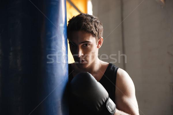 Retrato boxeador sombra forte jovem ginásio Foto stock © deandrobot