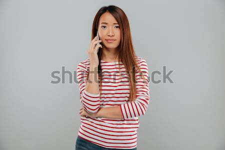 Picture of pensive asian woman in sweater looking away Stock photo © deandrobot