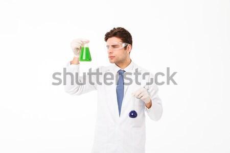 Stockfoto: Portret · jonge · mannelijke · wetenschapper · uniform · tonen